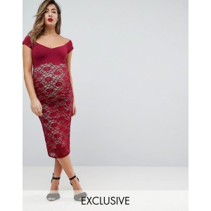 ASOS MATERNITY Bardot Lace Midi Bodycon Dress