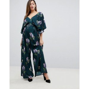 ASOS Maternity Jumpsuit with Kimono Sleeve and Wide Leg in Print