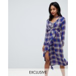 ASOS Maternity NURSING Check midi dress with Ruffle Front and Collar Detail