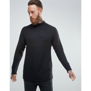 ASOS Mohair Wool Blend Turtleneck Sweater In Black