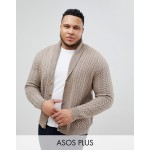 ASOS PLUS Knitted Cable Knit Cardigan In Tan