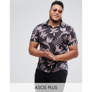 ASOS PLUS Polo Shirt With Revere Collar In Floral Print