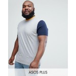 ASOS PLUS relaxed fit t-shirt with contrast sleeves and neck trim