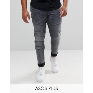 ASOS PLUS Super Skinny Biker Jeans In Washed Black