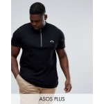 ASOS PLUS T-Shirt With Zip Turtleneck And Rainbow Embroidery