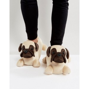 ASOS Pug Slippers In Brown