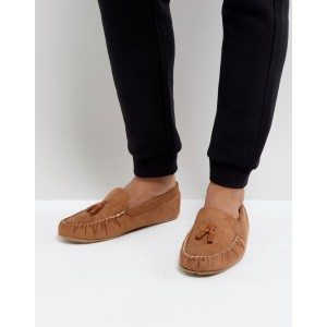 ASOS Slippers In Tan With Faux Shearling Lining