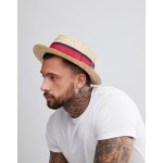 ASOS straw boater in natural with band detail