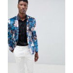 ASOS Super Skinny Blazer In Blue Velvet Floral Print