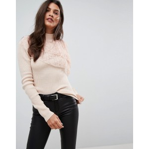 ASOS Sweater with Pleated Lace Ruffle
