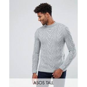 ASOS TALL Cable Knit Sweater In Steel Blue