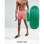 ASOS TALL Swim Shorts In Acid Wash Red In Short Length