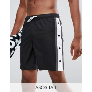 ASOS TALL Swim Shorts In Monochrome With Side Poppers In Mid Length
