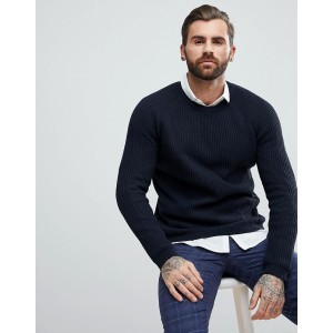 ASOS Textured Wool Mix Sweater In Navy