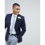 ASOS Wedding Super Skinny Blazer In Navy Linen