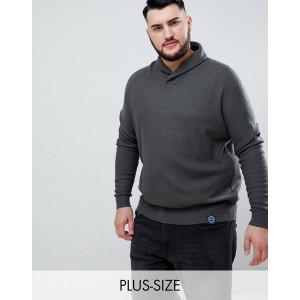 BadRhino Big Button Shawl Neck Sweater In Dark Khaki
