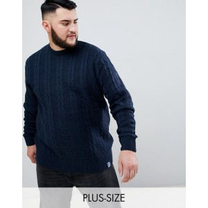 BadRhino Big Cable Knitted Sweater In Navy
