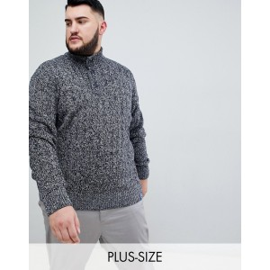 BadRhino Big Funnel Button Neck Sweater In Navy Marl