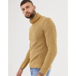 Bershka knitted roll neck sweater in camel