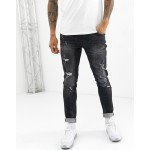 Blend echo tapered fit jean in washed black