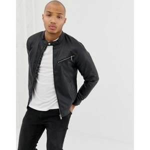 Blend faux leather racer jacket in black with zip detail