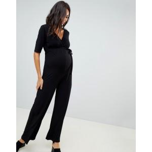 Bluebelle Maternity v neck jumpsuit with wide leg