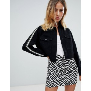 Boohoo cropped side stripe jacket in black