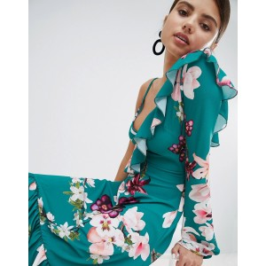 Boohoo exclusive one shoulder floral midi dress