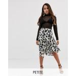 Boohoo Petite floaty midi skirt with side split in leopard