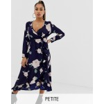 Boohoo Petite wrap midi dress in navy floral
