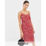 Boohoo satin midi slip dress in red leopard