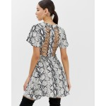 Boohoo tea dress with lace up back in snake print