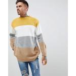 boohooMAN color block sweater in mustard