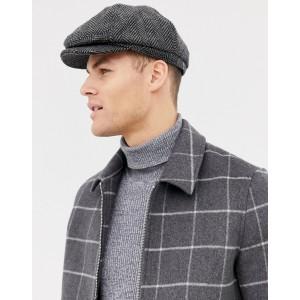 Burton Menswear baker boy hat in gray herringbone