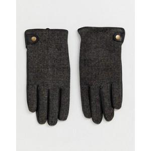 Burton Menswear faux leather gloves in brown herringbone