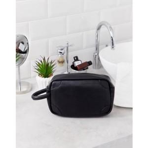 Burton Menswear faux leather toiletry bag in black