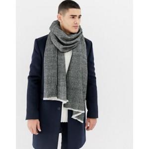 Burton Menswear scarf in gray herringbone