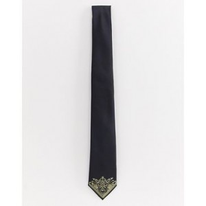 Burton Menswear tie with gold tip in black