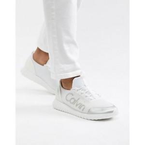 Calvin Klein Ron logo metallic sneakers in white