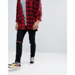 Cheap Monday Skinny Jeans In Black With Knee Rips