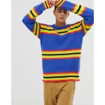 COLLUSION crew neck sweater in bright stripe