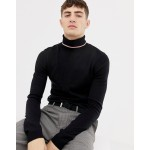 COLLUSION muscle fit roll neck sweater in black