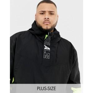 COLLUSION Plus printed windbreaker jacket in black