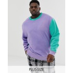 COLLUSION Plus washed color block sweat in lilac