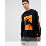 COLLUSION Tall long sleeve printed t-shirt in black
