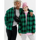 COLLUSION Unisex padded checked jacket with hood