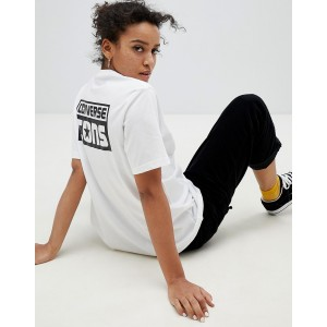 Converse Cons Skate Back Print Logo T Shirt In White