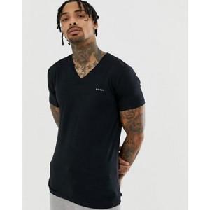 Diesel logo v-neck t-shirt in stretch cotton black