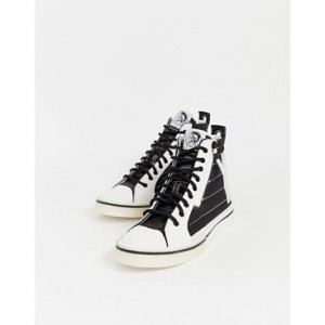 Diesel Mid Patch hi top sneakers in black & white