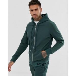 Diesel S-Gina-J zip through knitted hoodie in khaki with broken text